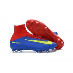 Nike Mercurial Superfly V FG Scarpa Da Calcio Per Terreni Duri - Blu Rosso Giallo