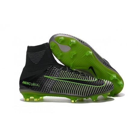 Nike Mercurial Superfly V Fg Scarpe da Calcio Uomo - Grigio Verde Nero 3456f42fb7a9