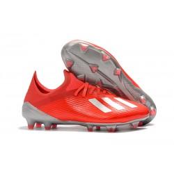 Scarpa da Calcio Nuovo adidas X 19.1 FG Rosso Argento